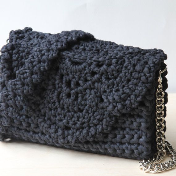 Little black handbag  Crochet lace handbag  от Sevirikamania