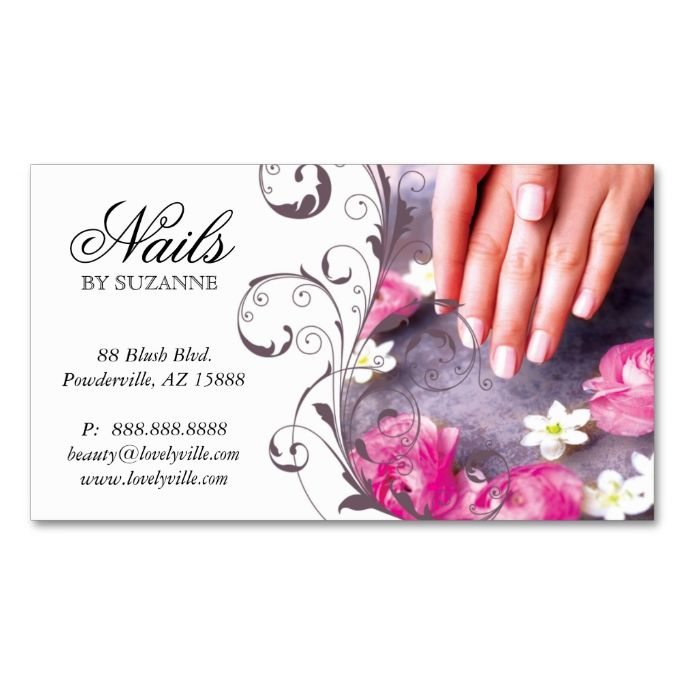 Framed Nail Art Designs For Nail Salons: 122 Nail Salon Business Card Pink Taupe