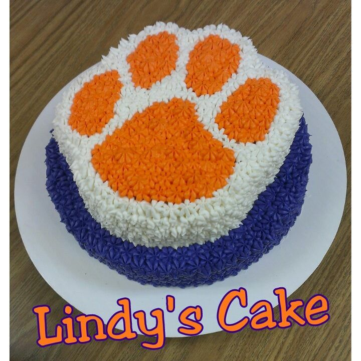 Clemson cake, Husbands birthday cake, Clemson Tigers, Orange and purple cake. Check out Carolina Cuppie Cakes on Facebook!