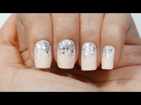 Uñas degradado purpurina o gradient glitter nails - YouTube