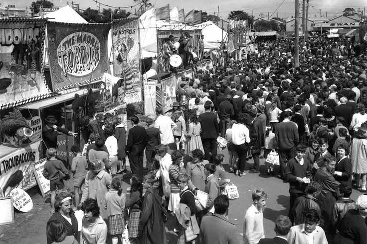 Sideshow alley - home to chaotic crowds since (at least) 1964. State Library of Western Australia 003994D.