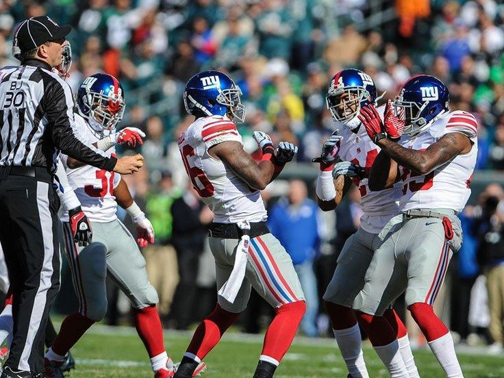 Giants celebrate defensive stop against eagles