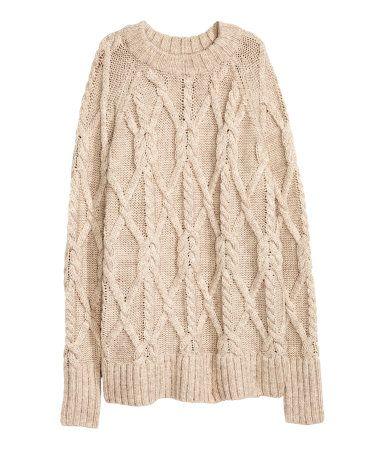 Cable-knit Sweater | Light beige | Ladies | H&M US