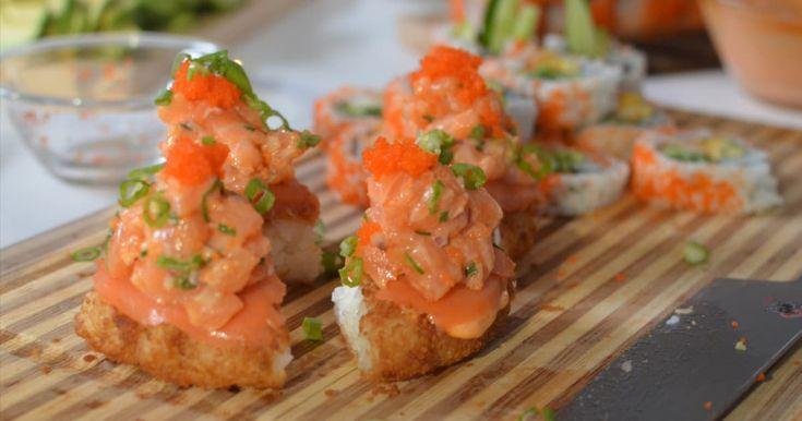 Découvrez cette recette de Pizza sushi au tartare de saumon épicé pour 4 personnes, vous adorerez!