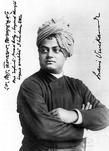 "Vivekananda in Chicago, September 1893. On the left, Vivekananda wrote: ""one infinite pure and holy – beyond thought beyond qualities I bow down to thee"""