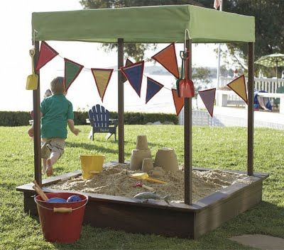 Shaded sandpit - roof may need more of a runoff or will collect water