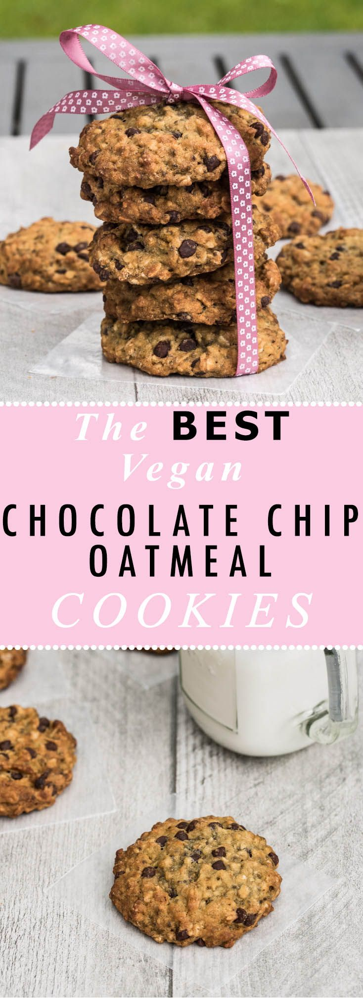 The BEST Vegan Chocolate Chip Oatmeal Cookies Recipe! Crispy on the outside and soft inside. They aren't overly sweet and have a few healthier ingredients in there to make these a bit more guiltless. /// VeganFamilyRecipes.com /// #dessert #cookie