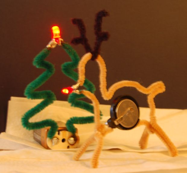 Pipe Cleaner LED Christmas Decorations. Fun idea for circuitry!