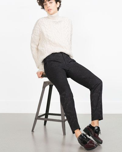 Image 3 of JACQUARD TROUSERS from Zara