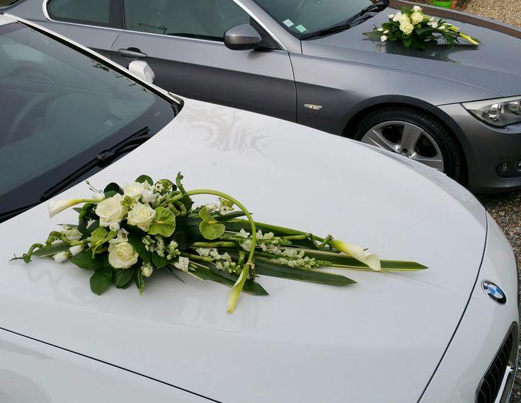 Décoration voiture mariés vert et blanc