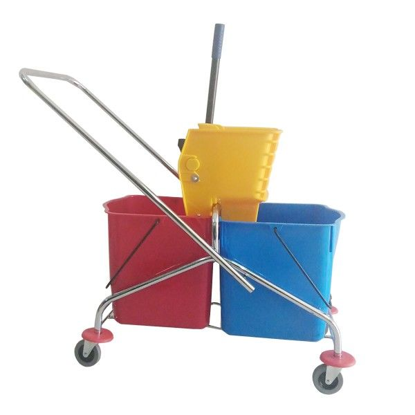 Double Bucket Stainless Standart.  - Type:302KL-2525STD - Capasitas :48L - Wringer:Side Press - Color:Stainless steel Trolley, Blue Red Bucket, Yellow Wringer - product size :64x34.5x81cm - Handle Size:84L x 40W cm - Harga per Unit.  http://alatcleaning123.com/ember/1685-double-bucket-stainless-standart.html  #ember #bucket #alatcleaning