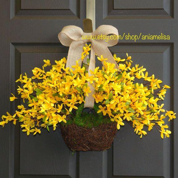 spring wreath Easter wreaths yellow forsythia wreath front door wreath, decorations, burlap bow spring wreath
