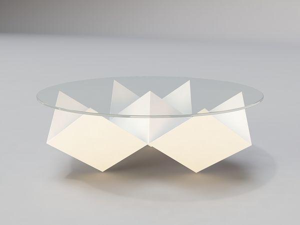 Moderne Couchtische geometrische formen dreiecke glasplatte