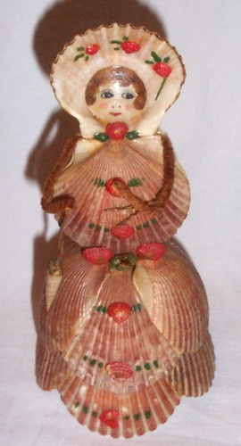 "Antique Vintage Souvenir Sea Shell Figurine Doll Lady w Bonnet Purse 7"" Tall   eBay"