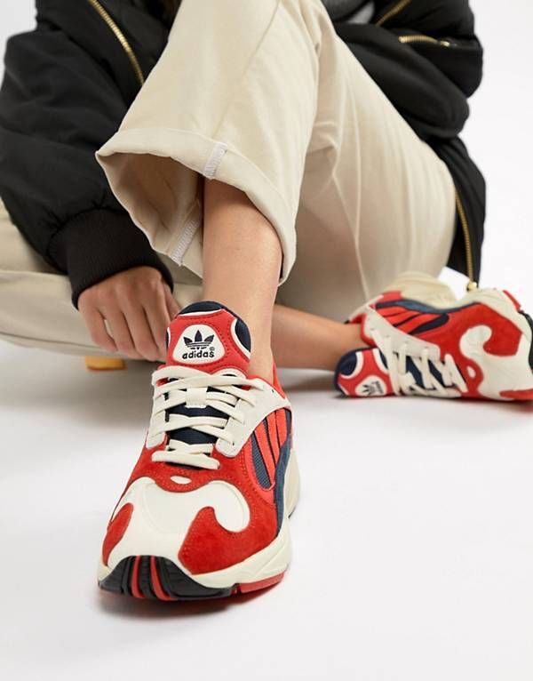 online store 1cc28 a2508 adidas Originals Yung-1 Trainers In Red Multi