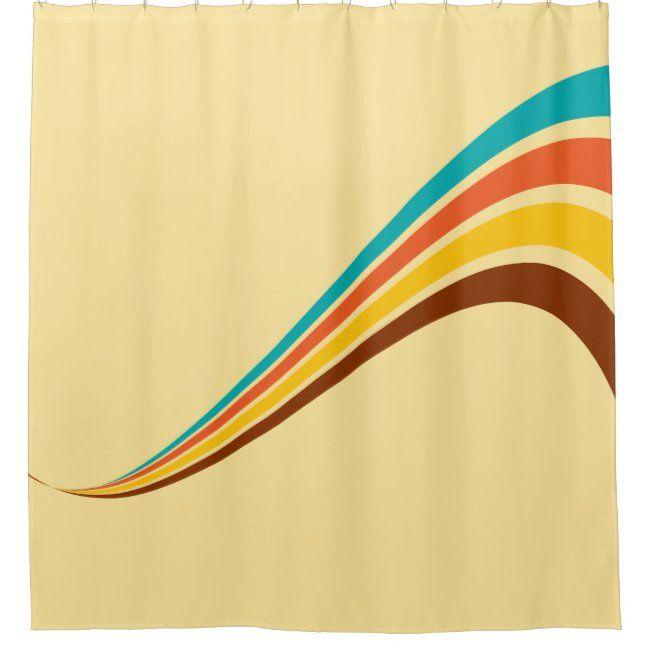 Retro Seventies Stripes On Cream Shower Curtain Zazzle Com
