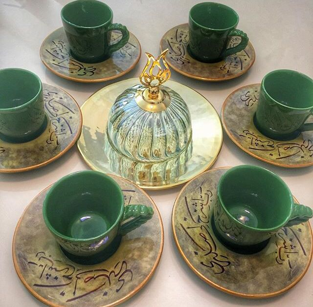 Turkish Ceramic Coffee Cup Set by www.grandbazaarshopping.com