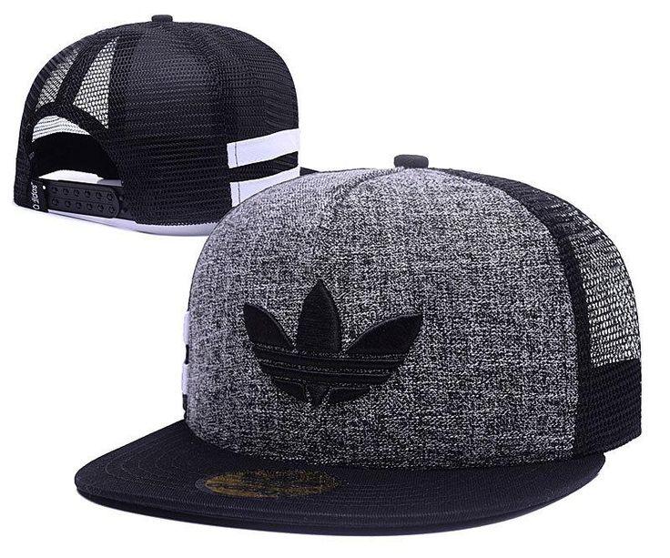 Men's Adidas Originals Clover 3D Embroidery Logo Customized Pattern Mesh Back Trucker Snapback Hat - Grey / Black / Black