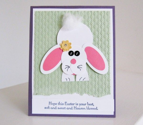Hoppy Easter! Fun Stampin Up punch art bunny at BrandysCards.com