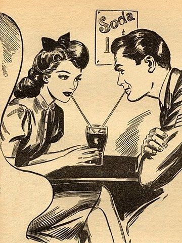 the good old days, when sharing a 1 cent soda=a classy date...so sweet<3