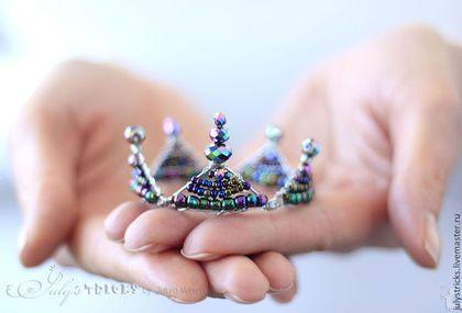 Детская бижутерия ручной работы. Ярмарка Мастеров - ручная работа. Купить Мини корона для маленького принца. Handmade. Темно-фиолетовый