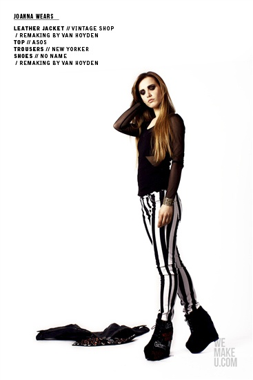 SWEET GRUNGE // PHOTOSHOOT // WEMAKEU.COM // http://wemakeu.com/2013/04/01/sweet-grunge-photoshoot/  | #sweet #grunge #black #white #red #stripes #pants #trousers #leather #jacket #wedges #diamond
