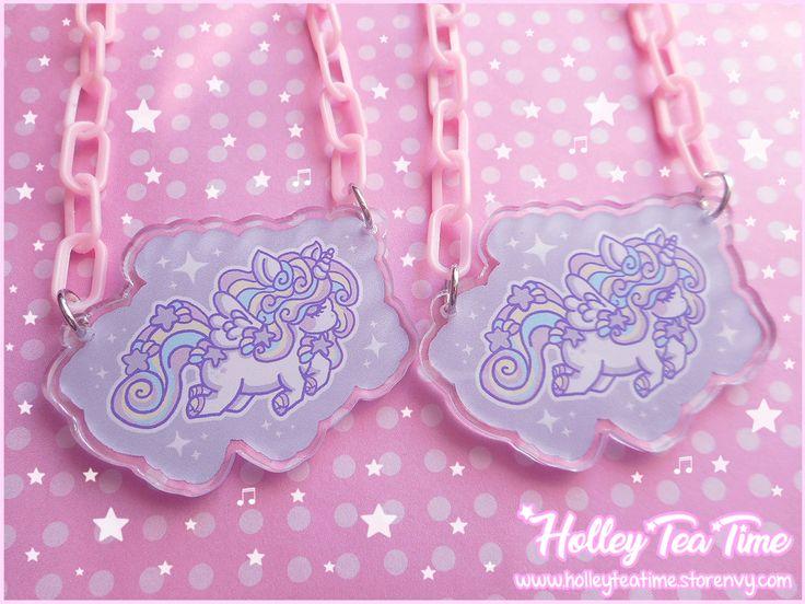 ☆ Rainbow Stardust Unicorn Necklace ☆ Clear Acrylic Charm ☆ Fairy kei, Pastel, Kawaii, Harajuku Fashion, Pop kei, Mahou kei, Magical girl, JFashion · Holley Tea Time · Online Store Powered by Storenvy