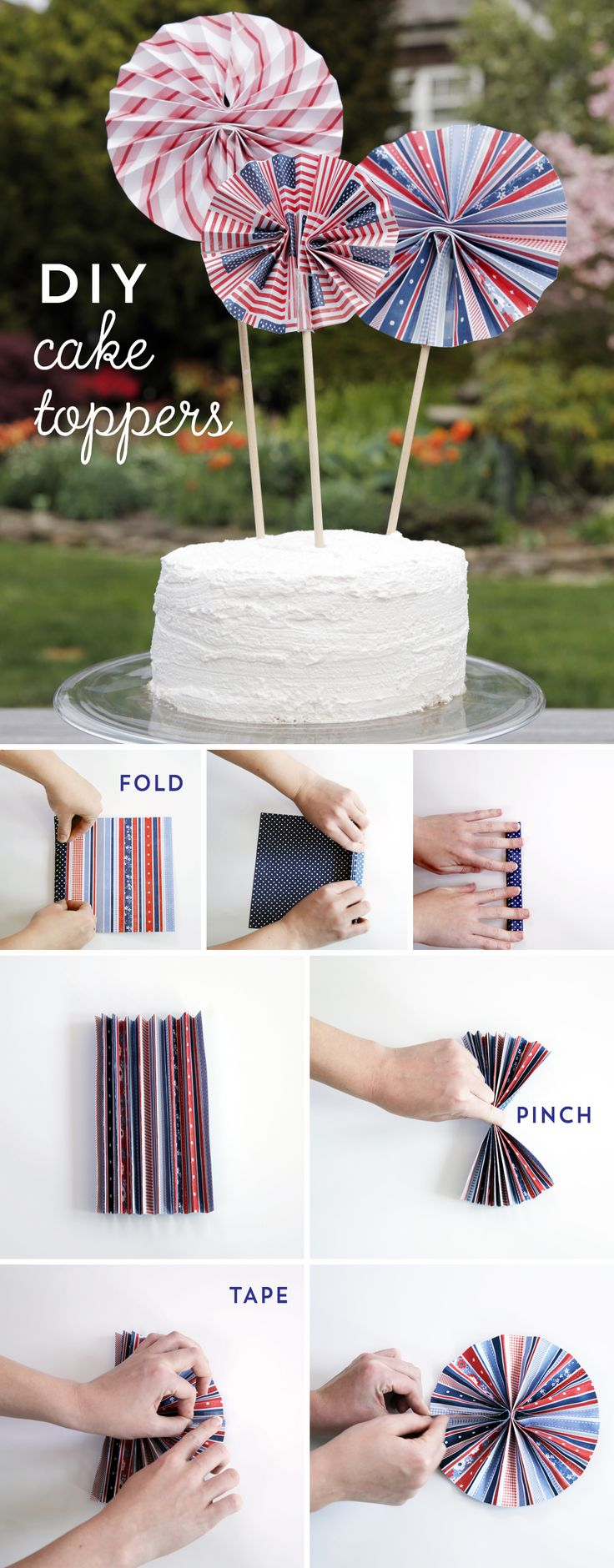 Looking for a DIY party decoration?  Add a little pizzazz to your table, centerpiece, or the décor of your favorite cake made with SPLENDA® Sweetener Products with these fun and easy DIY Patriotic Pinwheels.  They make a great cake-topper, centerpiece, or yard decoration.