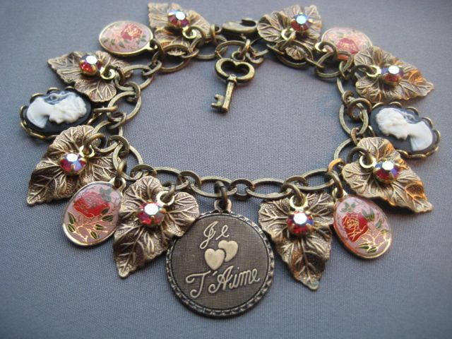 Victorian Charm Bracelet Jewelry Cameo Rose Pink French 55 00 Via Etsy
