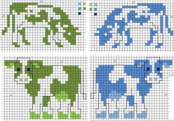 koe kruissteek, cow cross-stitch, vache point de croix