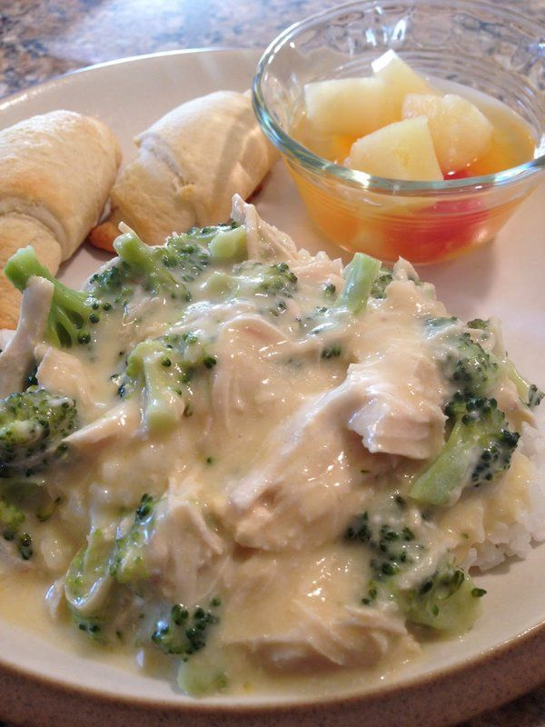 Crockpot cheesy creamy chicken & broccoli over rice
