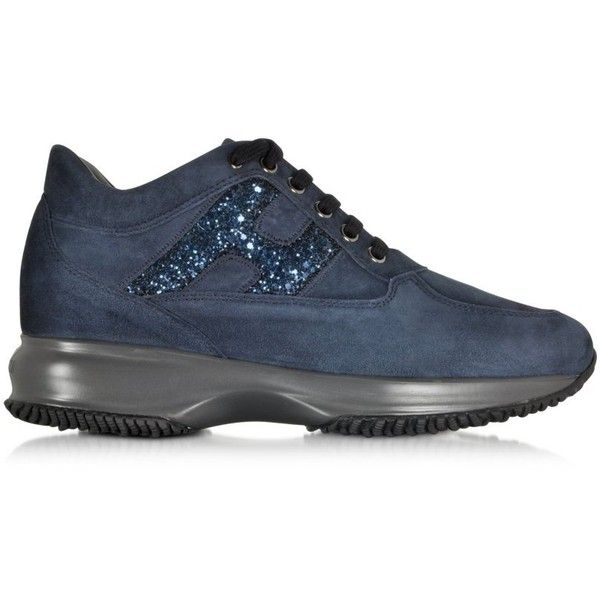 Hogan Shoes Denim Blue Suede and Sequins Wedge Sneaker found on Polyvore featuring polyvore, fashion, shoes, sneakers, navy blue, suede wedge sneakers, blue suede sneakers, lace up wedge sneakers, sequin sneakers and sports trainer