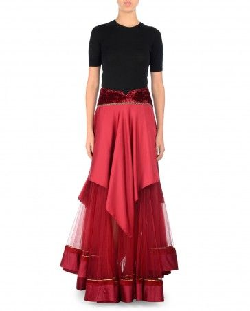 Garnet Layered Asymmetrical Skirt