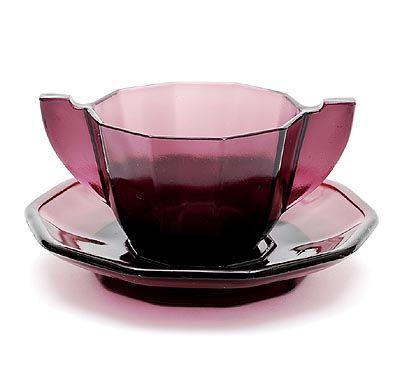 design-is-fine:  K.P.C. de Bazel, soup bowl on saucer, 1920. Made by Glasfabriek Leerdam, Netherlands. Via botterweg