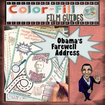 Join in saying goodbye to President Obama with this color-fill guide for his farewell address. This free resource includes two pages of notes for President Obama's address, one page detailing the history of the farewell address from past presidents, one p