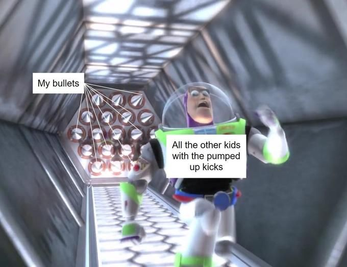 Buzz Lightyear Outruns Spikes | Know Your Meme    Buzz Lightyear Outruns Spikes is a series of exploitable image featuring a frame from the 1999 animated film Toy Story 2. In the image, the character Buzz Lightyear is seen running from an encroaching wall of spikes. Online, people label the spikes and Lightyear things that the meme's author hopes to avoid.    Read more at KnowYourMeme.com.