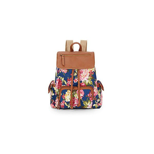 Madden Girl Trender Floral-Print Backpack (425 MXN) ❤ liked on Polyvore featuring bags, backpacks, navy floral, cotton canvas backpack, navy bag, floral rucksack, madden girl backpack y pocket bag