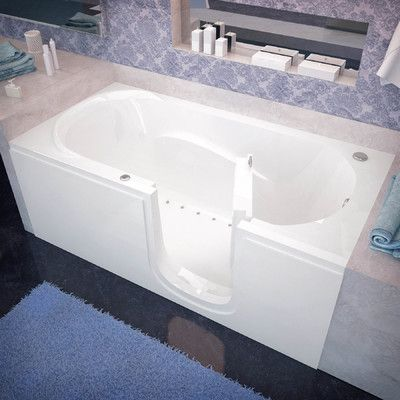 """Therapeutic Tubs Stream 59.6"""" x 30"""" Air Jetted Bathtub Drain Location: Right"""