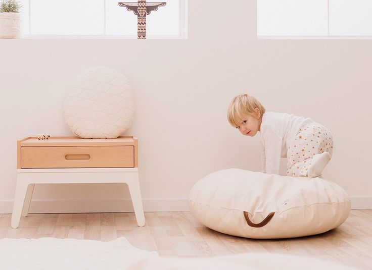 Sahara beanbag white natural by nobodinoz