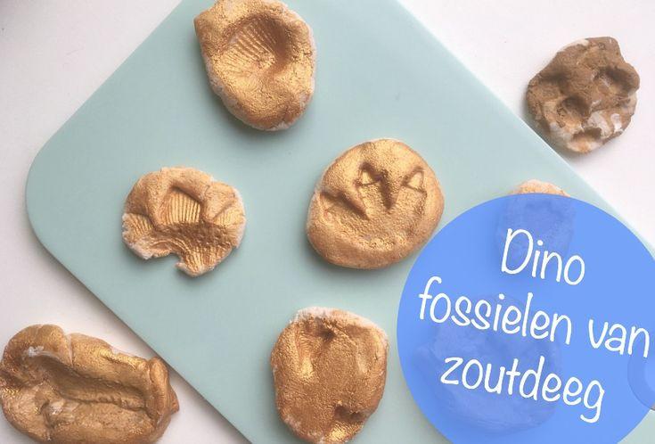 Leuk makkelijk en vrij snel knutselprojectje voor een regenachtige woensdagmiddag. Dinosaurus fossielen maken van zoutdeeg.