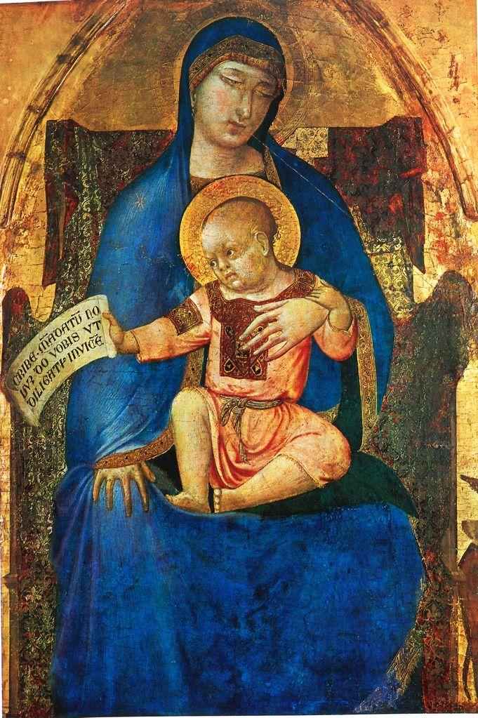 Ambrogio_Lorenzetti. Амброджо Лоренцетти (1285-1348).Дева Мария и ребенок. Музей изобразительных искусств, Будапешт.