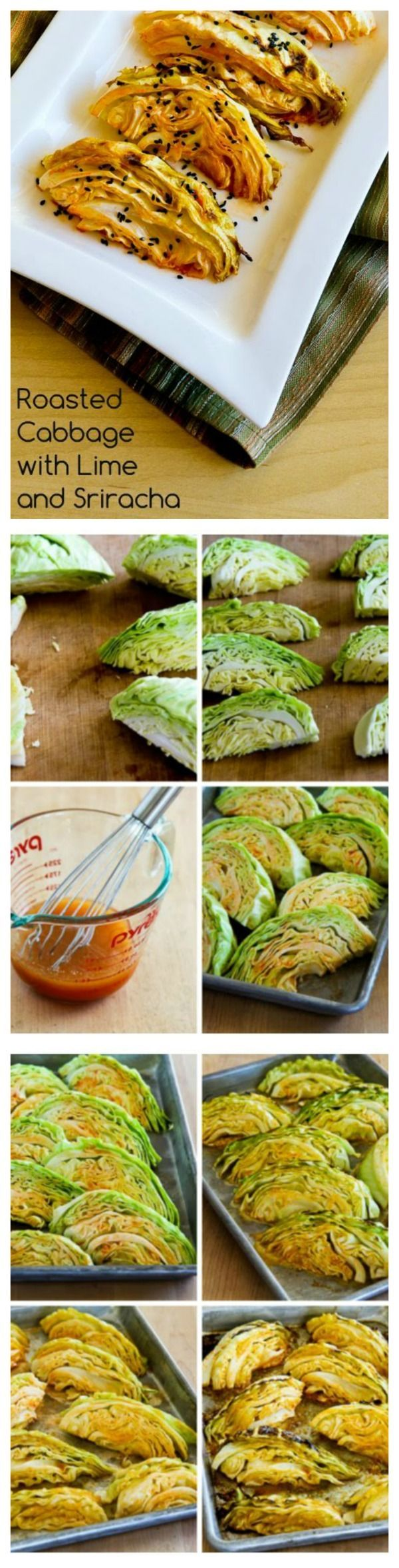 This Roasted Cabbage with Lime and Sriracha has just a bit of tangy spiciness from the lime juice and Sriracha. [from KalynsKitchen.com]