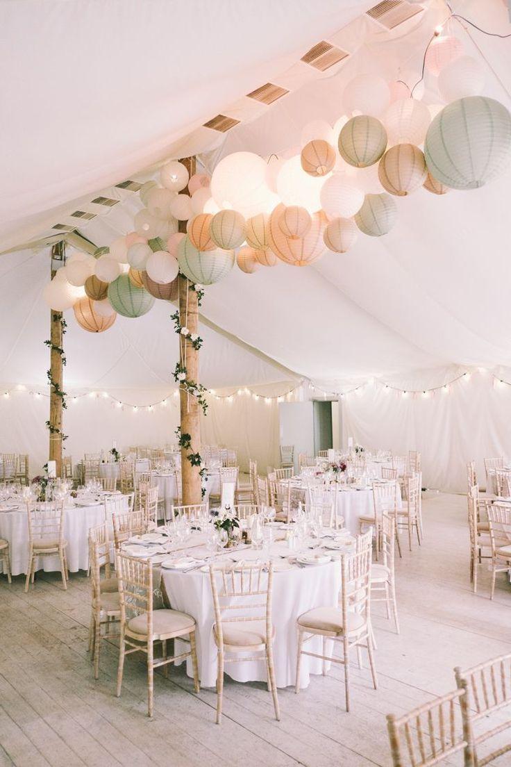 Festzelt Laternen Girlande Licht ziemlich hellrosa Landhaus Hochzeit – Cathrin Frank