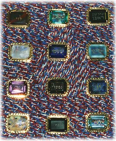 EPHOD STONES WORN BY THE HIGH PRIESTS OF ISRAEL  Ruby - Reuben - Red  Jade - Shimon - Green  Agate - Levi - Red, White, and Black Striped  Carbuncle - Judah - Bluish-Green  Lapis-Lazuli - Issachar - Blue  Quartz Crystal - Zebulun - Clear  Turquoise - Dan - Blue  Amethyst - Naftali - Purple  Agate - Gad - Grey  Aquamarine - Asher - Blue-Green  Onyx - Joseph - Black  Opal - Benjamin - A Stone Possessing All the Colors