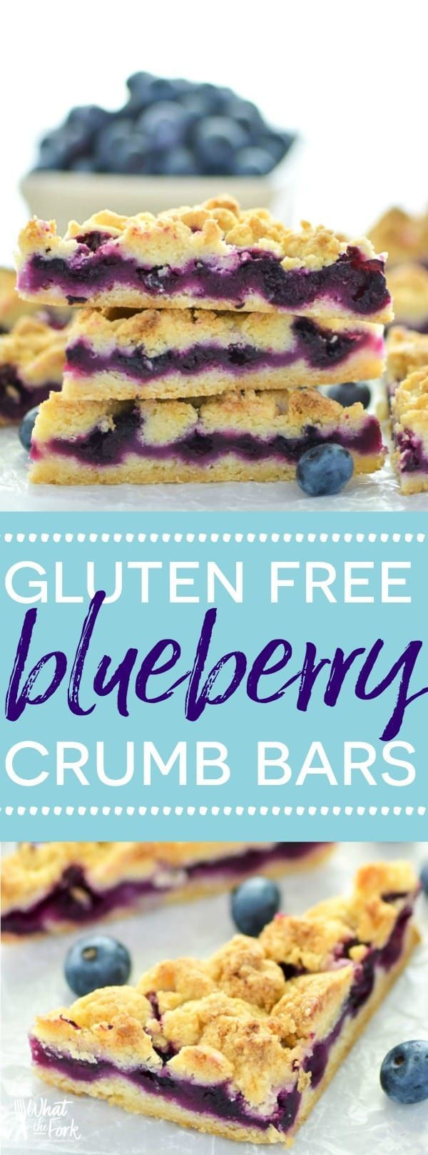 These Gluten Free Blueberry Crumb Bars are made with fresh blueberries and are a really delicious dessert or snack. The crumb is nice and crisp and the lemon zest makes these bright and fresh! Recipe from @whattheforkblog   whattheforkfoodblog.com   glute