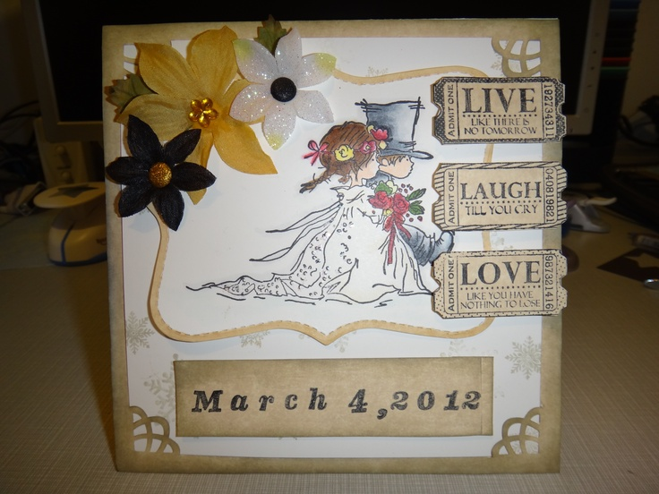 [Whimsy stamps: Treasured moments stamp set and LOTV: wedding couple] Wedding Anniversary card - colored with copics, dusted with glitter