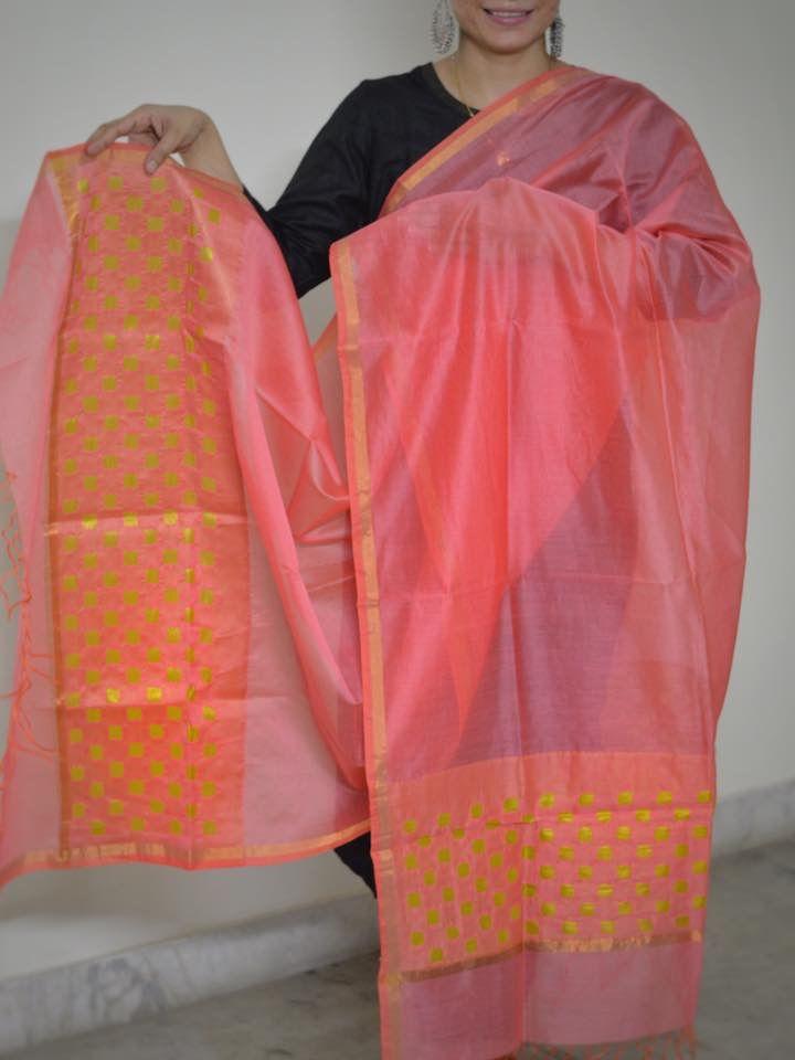 Chenderi silk cut work dupatta