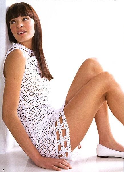 Lovely White Dress free crochet graph pattern