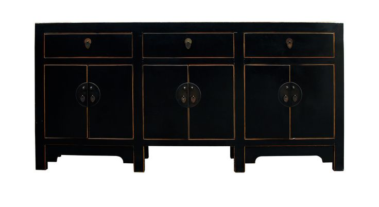 Chinese Distressed Rustic Black Sideboard Buffet Table Cabinet cs2318S