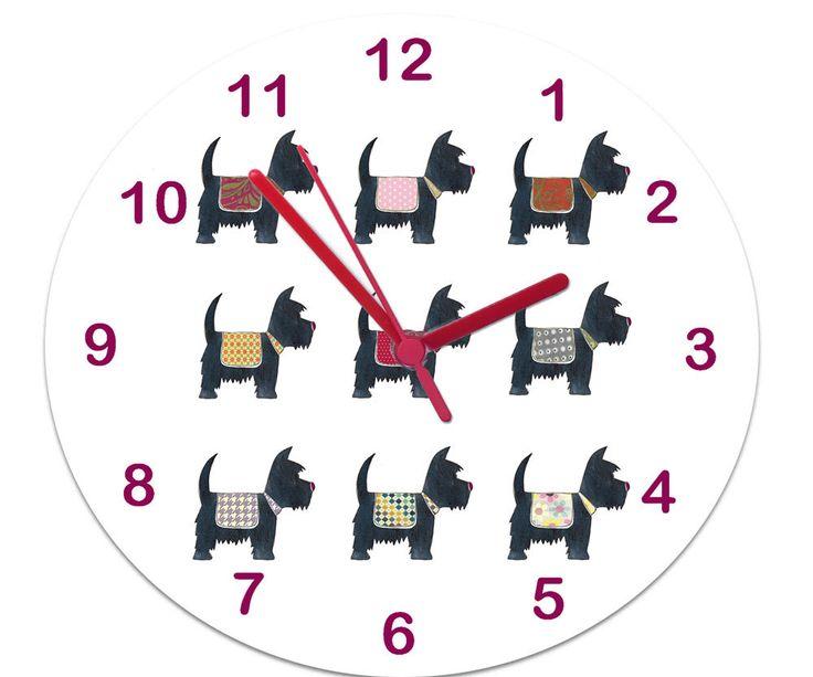 Girls Wall Clock,Girls Room Clock,Non Ticking Clock,Kids Room Clock,Tell the time Clock,Doggy Clock by TigerlilyprintsLtd on Etsy